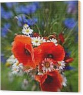 Bouquet Of Fresh Poppies Camomiles And Cornflowers Wood Print