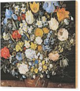 Bouquet In A Clay Vase Wood Print