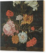 Bouquet In A Roemer Wood Print by Jan Baptist Van Fornenburgh