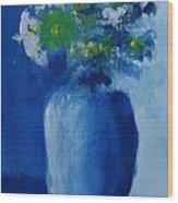 Bouquet In Blue Shadow Wood Print