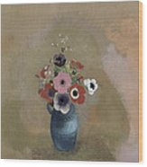 Bouquet Of Anemones Wood Print by Odilon Redon