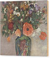 Bouquet Of Flowers In A Vase Wood Print by Odilon Redon