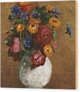 Bouquet Of Flowers In A White Vase Wood Print