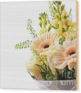 Bouquet Of Flowers On White Background Wood Print