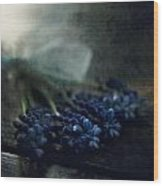 Bouquet Of Grape Hyiacints On The Dark Textured Surface Wood Print