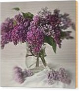 Bouquet Of Lilacs In A Glass Pot Wood Print