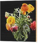 Bouquet Of Ranunculus Wood Print