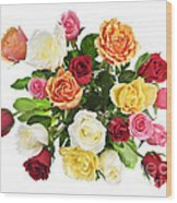 Bouquet Of Roses From Above Wood Print