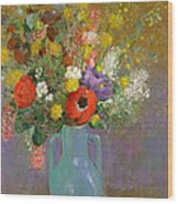 Bouquet Of Wild Flowers  Wood Print by Odilon Redon
