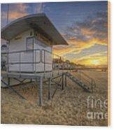 Bournemouth Beach Sunrise Wood Print