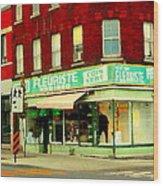 Boutique Fleuriste Coin Vert St Henri Flower Shop Notre Dame Montreal Urban Scenes Carole Spandau  Wood Print