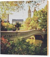 Bow Bridge - Autumn - Central Park Wood Print