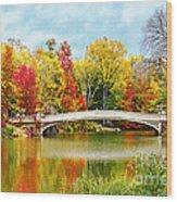 Bow Bridge Autumn In Central Park  Wood Print