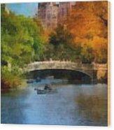 Bow Bridge Central Park Wood Print by Amy Cicconi