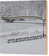 Bow Bridge Central Park Winter Wonderland Wood Print