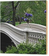 Bow Bridge Flower Pots - Central Park N Y C Wood Print