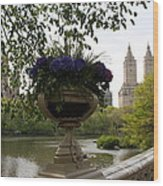 Bow Bridge Flowerpot And San Remo Nyc Wood Print