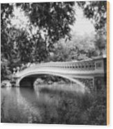 Bow Bridge In Black And White Wood Print