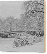 Bow Bridge In Central Park During Snowstorm Bw Wood Print by Susan Candelario