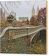 Bow Bridge In Central Park Wood Print