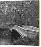 Bow Bridge Nyc In Black And White Wood Print