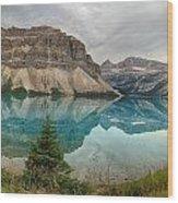 Bow Lake Pano Banff National Park Wood Print