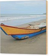 Bow Of A Blue And Yellow Fishing Boat Wood Print