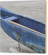 Bow Of A Blue Wood Fishing Boat Wood Print
