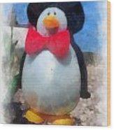 Bow Tie Penguin Photo Art Wood Print