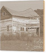 Bowed And Lonely Barn Wood Print