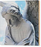 Bowing Male Angel With Blue Sky And Clouds Wood Print