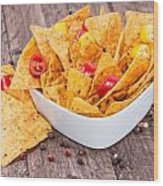 Bowl Filled With Nachos Wood Print