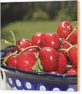 Bowl Of Cherries In The Garden Wood Print