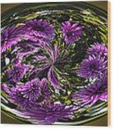 Bowl Of Dahlias Wood Print
