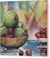 Apples In A Wooden Bowl With Cherries On The Side Wood Print