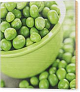 Bowl Of Green Peas Wood Print by Elena Elisseeva