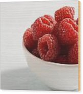 Bowl Of Raspberries Wood Print by Greg Huszar Photography
