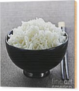 Bowl Of Rice With Chopsticks Wood Print