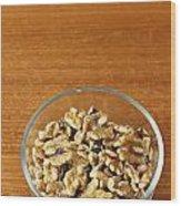 Bowl Of Shelled Walnuts Wood Print