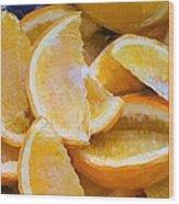 Bowl Of Sliced Oranges Wood Print