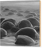 Bowling Ball Beach Bw Wood Print