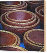 Bowls Wood Print by Connie Anderson