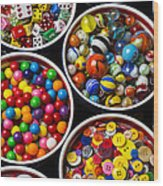 Bowls Of Buttons And Marbles Wood Print