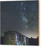 Boxcar At Night Wood Print