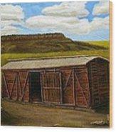 Boxcar On The Plains Wood Print