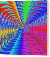 Boxed Rainbow Swirls 2 Wood Print