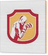 Boxer Boxing Jabbing Punch Side Shield Retro Wood Print