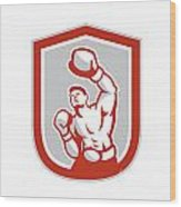 Boxer Boxing Punching Jabbing Circle Retro Wood Print