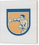 Boxer Boxing Punching Shield Cartoon Wood Print