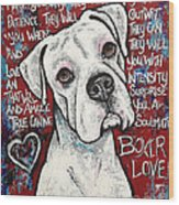 Boxer Love Wood Print by Stephanie Gerace